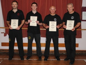 From left to right: Mark Heathcote (2nd Technician), Adam Medhurst (2nd Technician), Peter Scott-Wilds (Pre-Primary Level) and John Marshall (Pre-Primary Level).
